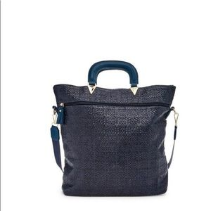 Pink Haley foldover blue tote with strap